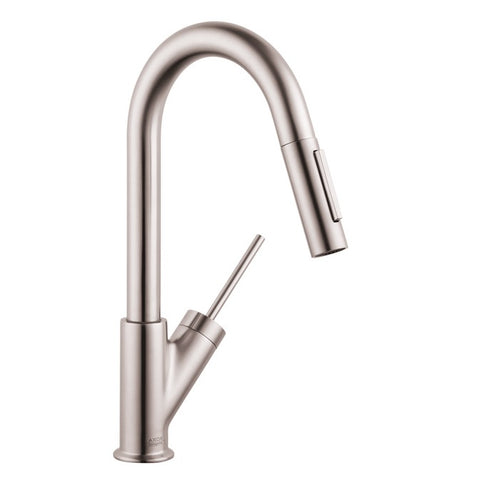 Hansgrohe AXOR Starck 2-Spray Pull-Down Prep Kitchen Faucet in Steel Optic