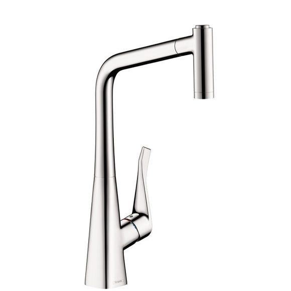 Hansgrohe Metris 2-Spray HighArc Kitchen Faucet, Pull-Out, in Chrome - SpeedySinks