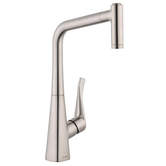 Hansgrohe Metris 2-Spray HighArc Kitchen Faucet, Pull-Out, in Steel Optic - SpeedySinks