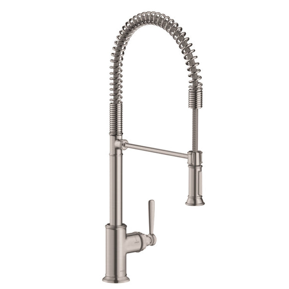 Hansgrohe AXOR Montreux 2-Spray Semi-Pro Kitchen Faucet in Steel Optic - SpeedySinks
