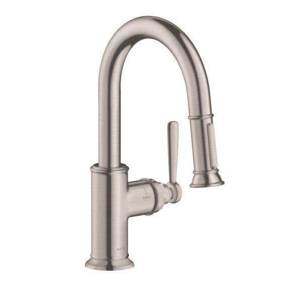 Hansgrohe AXOR Montreux 2-Spray Prep Kitchen Faucet, Pull-Down, in Steel Optic