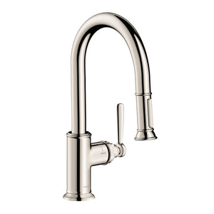 Hansgrohe AXOR Montreux 2-Spray Prep Kitchen Faucet, Pull-Down, in Polished Nickel - SpeedySinks