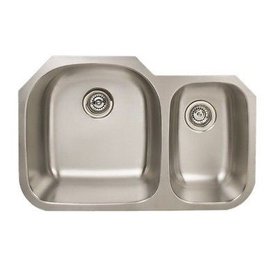 Titan U-90516-S Stainless Undermount Double Bowl 70/30 Kitchen Sink Sink - SpeedySinks