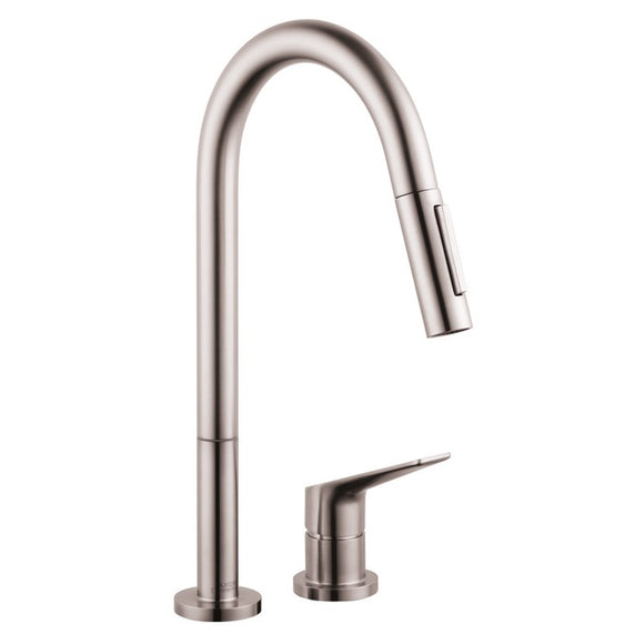 Hansgrohe AXOR Citterio M 2-Hole Kitchen Faucet, Pull-Down, in Steel Optic - SpeedySinks