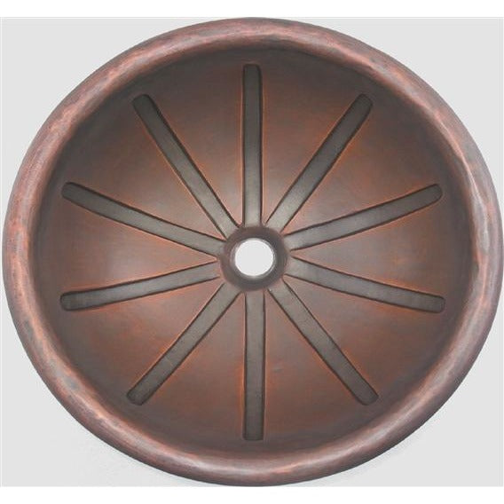 Oriental Sun Ray Design Round Copper Bathroom Sink - SpeedySinks