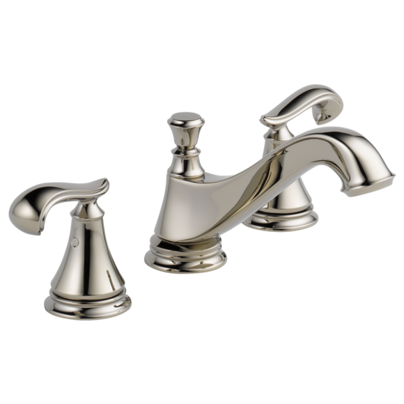 Delta Cassidy Two Handle Widespread Lavatory Faucet - Low Arc Spout in Polished Nickel - SpeedySinks