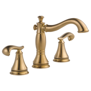 Delta Cassidy Two Handle Widespread Lavatory Faucet in Champagne Bronze