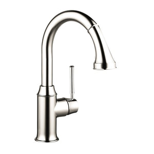 Hansgrohe Talis C 2-Spray Pull-Down Prep Kitchen Faucet in Polished Nickel - Chariotwholesale