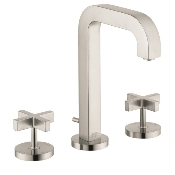 Hansgrohe AXOR Citterio Widespread Faucet with Cross Handles in Brushed Nickel - SpeedySinks