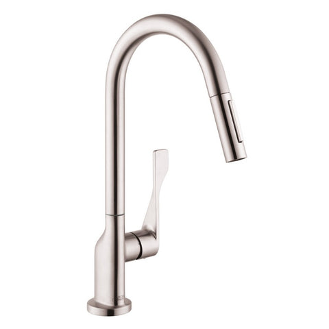 Hansgrohe AXOR Citterio 2-Spray HighArc Kitchen Faucet, Pull-Down, in Steel Optic