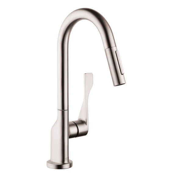 Hansgrohe AXOR Citterio 2-Spray Pull-Down Prep Kitchen Faucet in Steel Optic