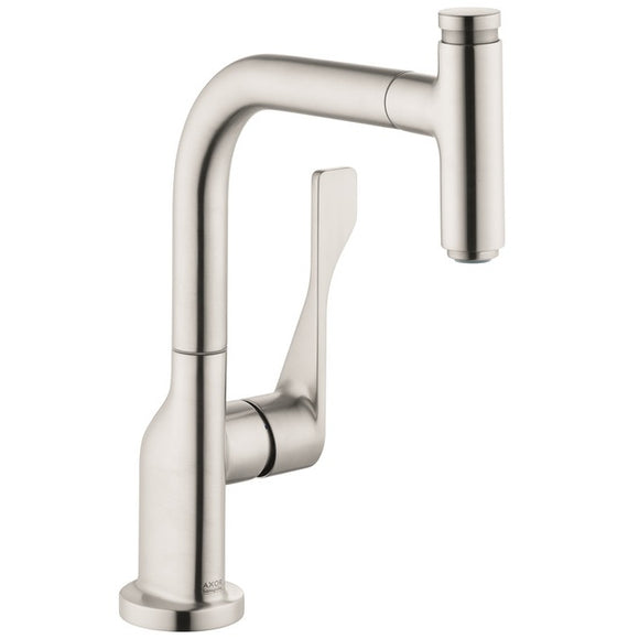 Hansgrohe AXOR Citterio Select 1-Spray Kitchen Faucet, Pull-Out, in Steel Optic - SpeedySinks
