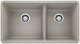 "Blanco Precis 33"" x 18"" Silgranit 1-3/4 Double Bowl Kitchen Sink - SpeedySinks"