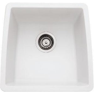 "Blanco 440081 White Performa 17-1/2"" x 17"" Silgranit Single Bowl Undermount Bar Sink - SpeedySinks"