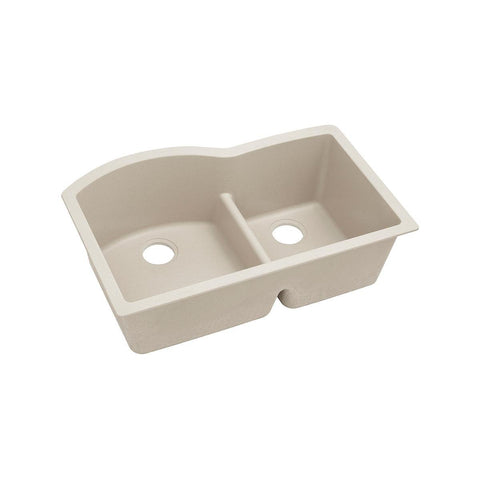 "Elkay Quartz Classic 33"" x 22"" x 10"", Offset 60/40 Double Bowl Undermount Sink with Aqua Divide, Bisque"