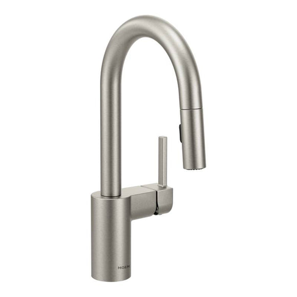 Moen Align One-Handle High Arc Pulldown Bar Faucet in Spot Resist Stainless - SpeedySinks