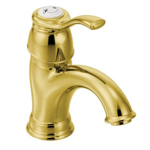 Moen Kingsley One-Handle Low Arc Bathroom Faucet in Polished Brass