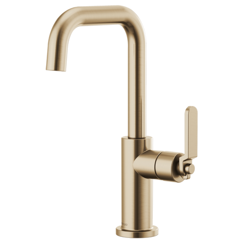Brizo Litze Bar Faucet with Square Spout and Industrial Handle in Luxe Gold - SpeedySinks