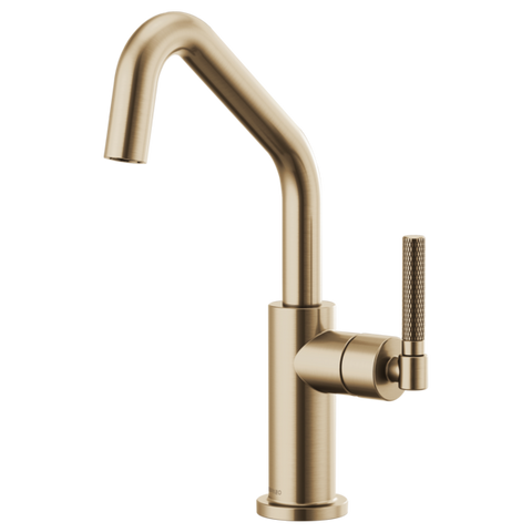 Brizo Litze Bar Faucet with Angled Spout and Knurled Handle in Luxe Gold - SpeedySinks