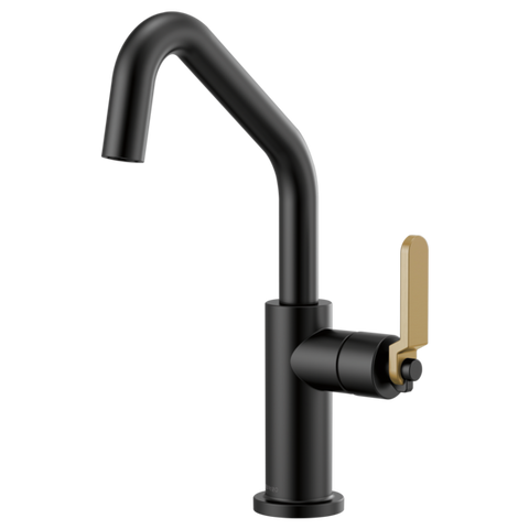 Brizo Litze Bar Faucet with Angled Spout and Industrial Handle in Matte Black with Luxe Gold Accents - SpeedySinks