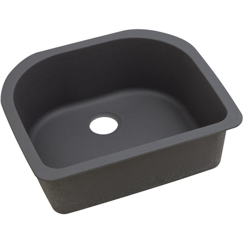 "Elkay Quartz Luxe 25"" x 22"" x 8-1/2"", Single Bowl Undermount Sink, Charcoal"
