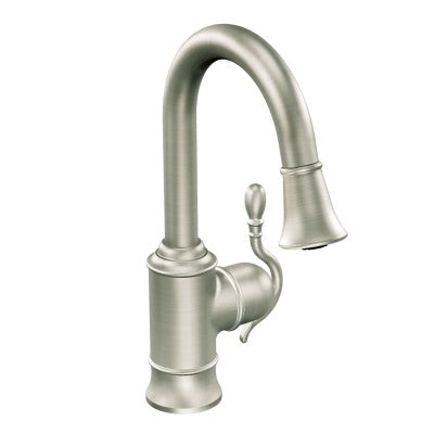 Moen Woodmere One-Handle High Arc Pulldown Bar Faucet in Spot Resist Stainless
