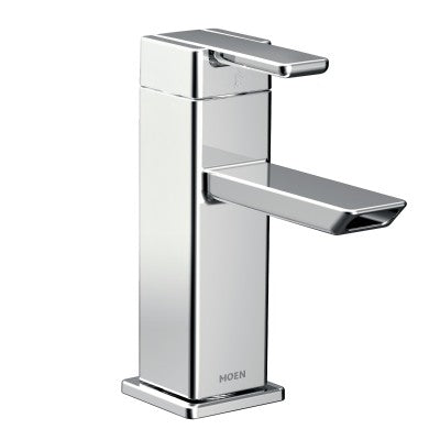 Moen 90 Degree One-Handle Low Arc Bathroom Faucet in Chrome - SpeedySinks