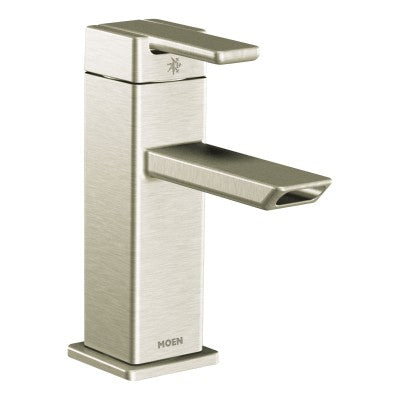 Moen 90 Degree Brushed Nickel One-Handle Low Arc Bathroom Faucet in Brushed Nickel - SpeedySinks