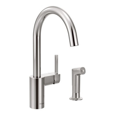 Moen Align One Handle High Arc Kitchen Faucet w/ Side Spray in Chrome - SpeedySinks