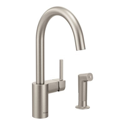 Moen Align One Handle High Arc Kitchen Faucet w/ Side Spray in Spot Resist Stainless - SpeedySinks