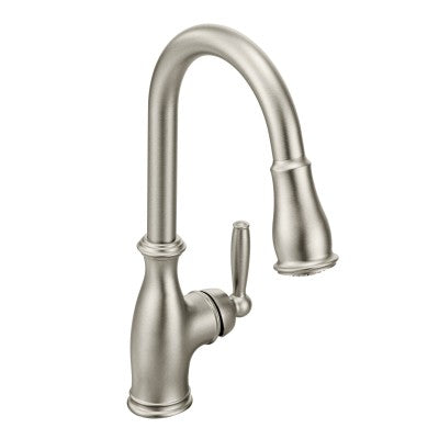 Moen Brantford Chrome One Handle High Arc Pulldown Kitchen Faucet in Spot Resist Stainless - SpeedySinks