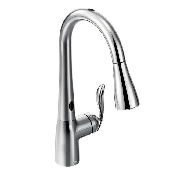 Moen Arbor One-Handle High Arc Pulldown Kitchen Faucet with MotionSense in Spot Resist in Chrome - SpeedySinks