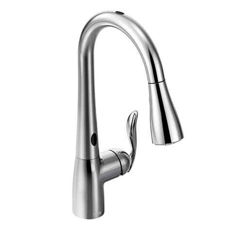 Moen Arbor One-Handle High Arc Pulldown Kitchen Faucet with MotionSense in Spot Resist in Chrome - Chariotwholesale