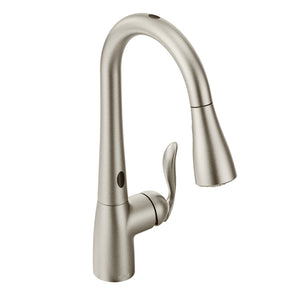 Moen Arbor One-Handle High Arc Pulldown Kitchen Faucet with MotionSense in Spot Resist Stainless Steel - SpeedySinks