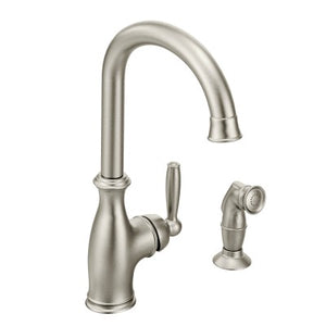 Moen Brantford One Handle High Arc Kitchen Faucet w/ Side Spray in Spot Resist Stainless - Chariotwholesale