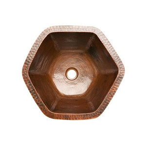 Log Cabin Hexagon Copper Undermount Bathroom Sink