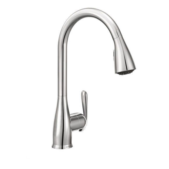Moen Haysfield One-Handle High Arc Kitchen Faucet in Chrome - Chariotwholesale