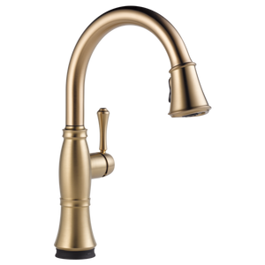 Delta Cassidy Single Handle Pull-Down Kitchen Faucet with Touch-2-0 Technology in Champagne Bronze - SpeedySinks