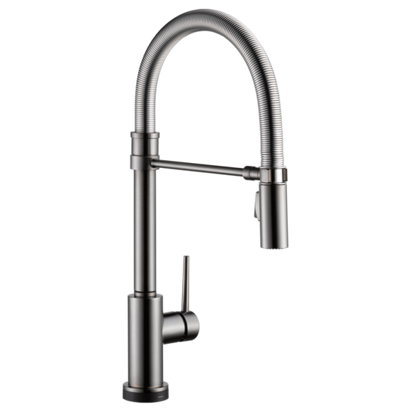 Delta Trinsic Pro Single Handle Pull-Down Kitchen Faucet with Touch-2-0 Technology in Black Stainless