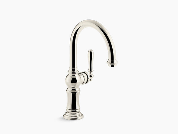Kohler Artifacts Single-Handle Bar Faucet with Swing Spout in Vibrant Polished Nickel