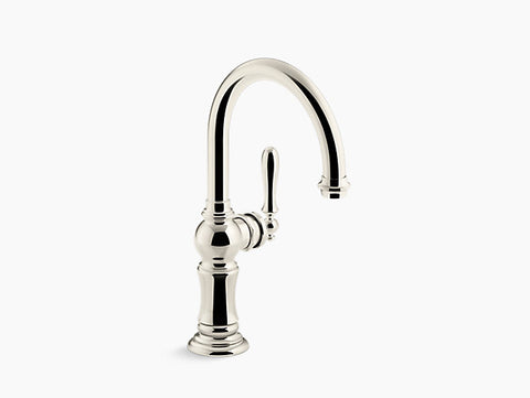 Kohler Artifacts Single-Handle Bar Faucet with Swing Spout in Vibrant Polished Nickel - Chariotwholesale