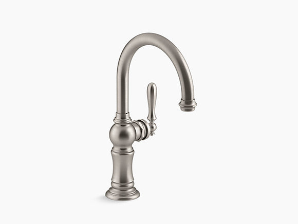 Kohler Artifacts Single-Handle Bar Faucet with Swing Spout in Vibrant Stainless - Chariotwholesale