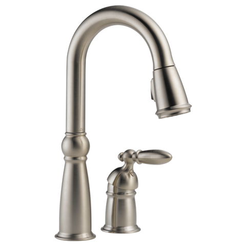 Delta Victorian Single Handle Pull-Down Bar/Prep Faucet in Stainless Steel - Chariotwholesale