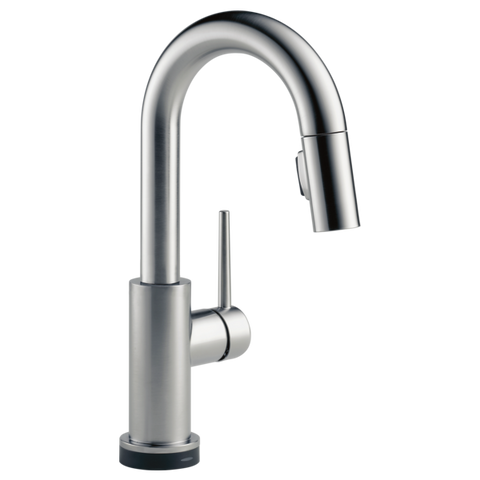 Delta Trinsic Single Handle Pull-Down Bar/Prep Faucet with Touch2O Technology in Arctic Stainless