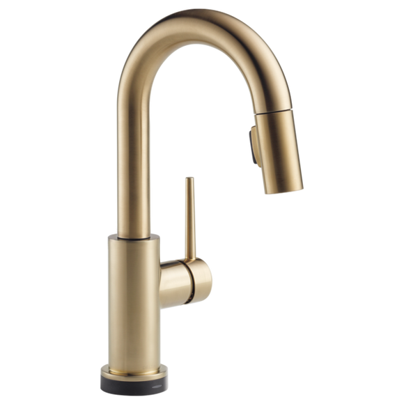 Delta Trinsic Single Handle Pull-Down Bar/Prep Faucet with Touch2O Technology in Champagne Bronze