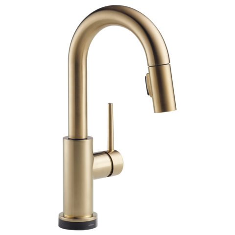 Delta Trinsic Single Handle Pull-Down Bar/Prep Faucet with Touch2O Technology in Champagne Bronze - Chariotwholesale