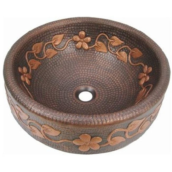 Oriental Skirted Oval Vine Design Vessel Copper Bathroom Sink - SpeedySinks