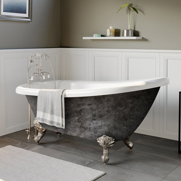 Cambridge Plumbing AST61-SP 61 Inch Acrylic Slipper Scorched Platinum Clawfoot Tub - Chariotwholesale