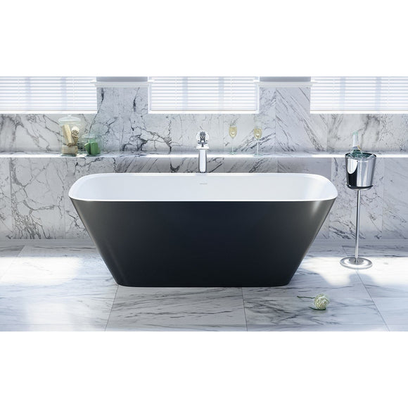 Aquatica Arabella-Blck-Wht Freestanding Solid Surface Bathtub - SpeedySinks