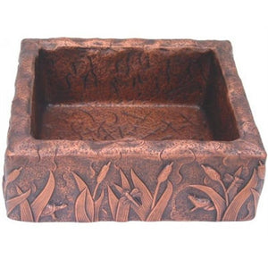 Oriental Rectangle Cattail Pattern Vessel Copper Bathroom Sink - SpeedySinks
